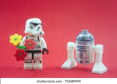 KUALA LUMPUR,MALAYSIA-OCTOBER  13TH 2017;close up of Lego star wars storm troopers and R2d2  over red background.Lego Mini figures are manufactured by The Lego Group