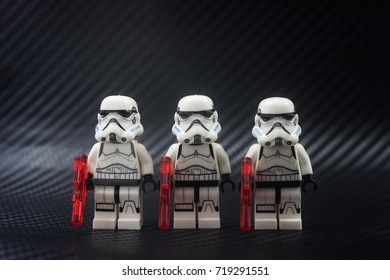 KUALA LUMPUR,MALAYSIA-SEPTEMBER 19 2017;close up of Lego star wars storm troopers over black background.