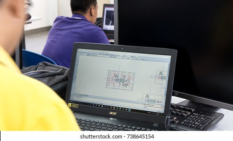 KUALA LUMPUR,MALAYSIA-SEPTEMBER 6,2017 : An Unidentified student doing designing using AUTOCAD in the Design Lab