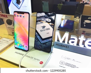 KUALA LUMPUR-November 14, 2018: A Huawei mate 20 smartphone at an Huawei store in Plaza Low Yat. Huawei is a brand of the worlds largest telecommunications equipment manufacturer Huawei (China).