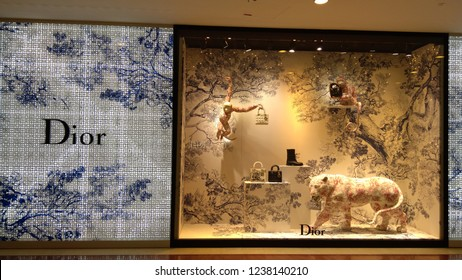KUALA LUMPUR-November 22, 2018: A Dior store in the  KLCC mall. Christian Dior SE is a French luxury goods company chaired by Bernard Arnault, who also heads LVMH,the worlds largest luxury group.