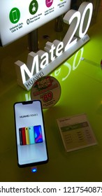 KUALA LUMPUR-October 30, 2018: A Huawei Mate 20 smartphone at an Huawei store in Plaza Low Yat. Huawei is a brand of the worlds largest telecommunications equipment manufacturer Huawei (China).