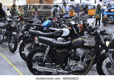 KUALA LUMUR, MALAYSIA -FEBRUARY 22, 2017: Retro and modified motorcycle gathered by its owner in Kuala Lumpur, Malaysia. The motorcycle nicely restored to the original condition.