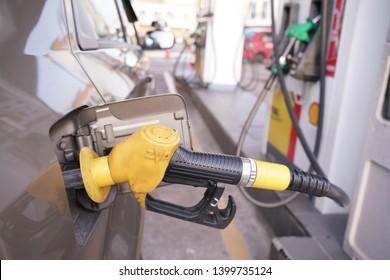 Kuala selangor, malaysia - 17 May 2019 : filling nozzle at a Shell gas station.