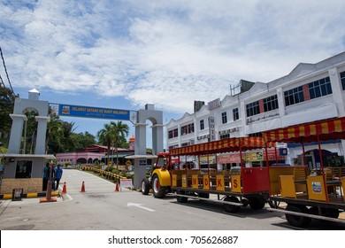 KUALA SELANGOR, MALAYSIA - AUGUST 27, 2017: A trem parked at Malawati Hill main entrance