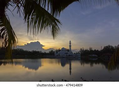KUALA TERENGGANU, MALAYSIA 03/09/2016: the Masjid Tengku Tengah Zaharah or also known as the Floating Mosque in Kuala Terengganu.