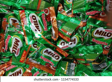 KUALA TERENGGANU  MALAYSIA, AUGUST 11, 2018.Milo packed row on the supermarket shelf. Milo is a chocolate and malt powder produced by Nestle.
