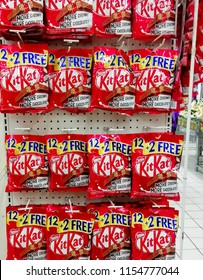 KUALA TERENGGANU  MALAYSIA, AUGUST 11, 2018. Kit Kat is a chocolate covered wafer bar created in 1911 by Rowntree's of York, England. Nestle which acquired Rowntree in 1988 now sells Kit Kat globally.