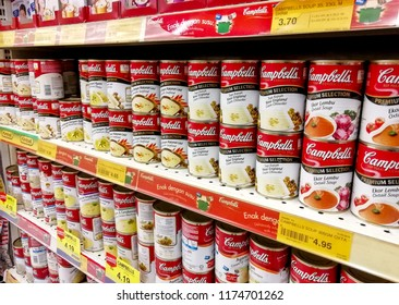 KUALA TERENGGANU MALAYSIA, AUGUST 16, 2018. Campbells is a brand name of instant soup display on the shelf in supermarket