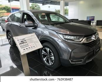 KUALA TERENGGANU, TERENGGANU, MALAYSIA-NOVEMBER 28, 2017 : Overall view of the new Honda CRV 2017 on display at one of the Honda showrooms in Kuala Terengganu, Malaysia