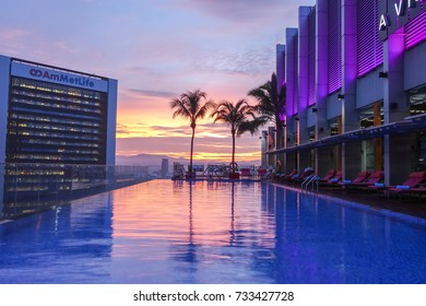 KUALAL LUMPUR, 1 OCTOBER 2017. View of infinity pool at Aloaf hotel in Kuala Lumpur. Soft focus and blurry image.