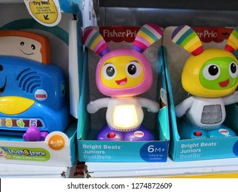 KualaLumpur, Malaysia - January 2019 : Fisher Price kids learning toys display for sale in toy store. Fisher-Price is an American company that produces educational toys for children.