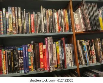 Kuala-Lumpur, Malaysia - March 28, 2017: bookshelves on booksellers shop