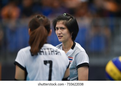 Kualalumpur-Malaysia-27aug2017:Pleumjit Thinkaow player of thailand in action during competition female volleyball 29th SEAgames between thailand and indonesia at mitec,malaysia