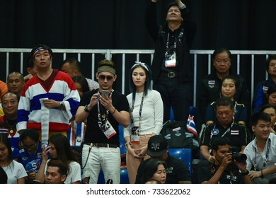Kualalumpur-Malaysia-27aug2017:Unidentified fans of thailand in action during competition female volleyball 29th SEAgames between thailand and indonesia at mitec,malaysia
