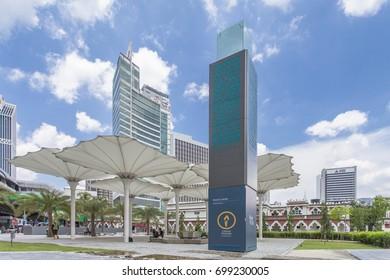 KUALUA LUMPUR, MALAYSIA - February 16, 2016: Masjid Jamek mosque which is located at the heart of Kuala Lumpur city.