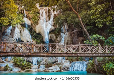 Kuang Si Falls or Kuangsi Waterfall in Luang Prabang, Laos, one of the most-visited tourist attractions in South East Asia.