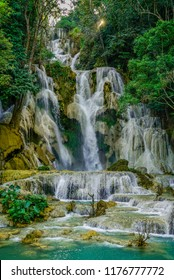 The Kuang Si Falls, sometimes spelled Kuang Xi or known as Tat Kuang Si Waterfalls, is a three levelled waterfall about 29 kilometres south of Luang Prabang. These waterfalls are a favourite side trip
