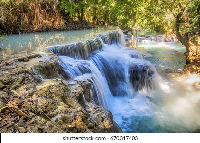 The Kuang Si Falls, sometimes spelled Kuang Xi is a waterfall outside of Luang Prabang