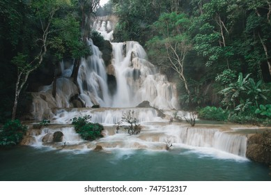 Kuang Si Falls Waterfall near Luang Prabang, Laos