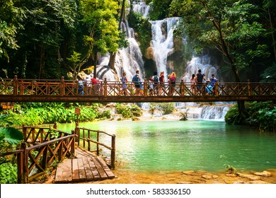 Kuang Si waterfall in Laos, Luang Prabang. Popular touristic destination during the sunny day in Laos