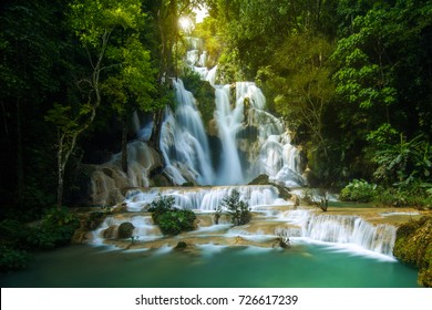 Kuang Si waterfall sunrise in Luang Prabang, Laos