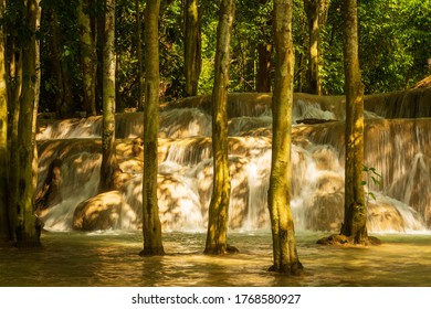 The Kuang Si waterfalls are roughly 30 kms south of Luang Prabang in Laos.