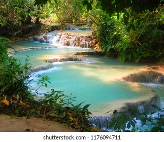 Kuang Si (Xi) Waterfall is the biggest in the Luang Prabang area with three tiers leading to a 50-metre drop into spectacular azure pools before flowing downstream.