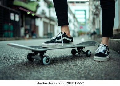 KUANTAN, 18 January 2019 - Sneakers of a skateboarder.