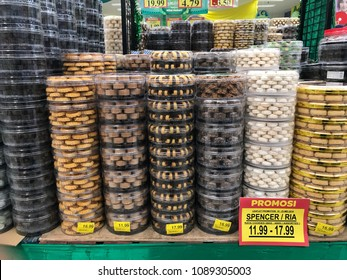 Kuantan, Malaysia -  12th May , 2018 : Varieties of Kuih Raya or traditional festive cookies on shelf for sale in The Giant Supermarket.