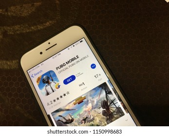 KUANTAN, MALAYSIA - AUGUST 6, 2018:  Smartphone with PUBG Mobile app on an App store.