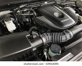 KUANTAN, MALAYSIA - December 19, 2016: Nissan engine part for latest Nissan Navarra model.
