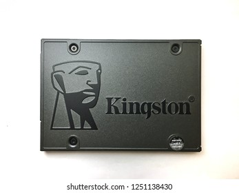 KUANTAN, MALAYSIA- Disember 5th, 2018: Kingston Solid State Drive isolated over white background.