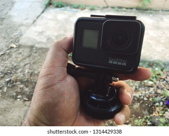 KUANTAN, MALAYSIA- February 16, 2019: Hand holding Gopro Hero 7 black, GoPro is the world's most versatile 360 and 4K action cameras.