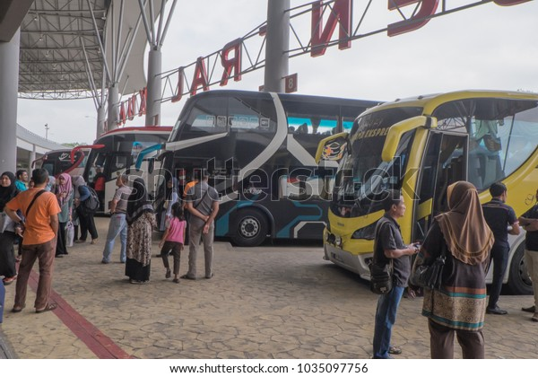 Kuantan, Malaysia - February 19th, 2018 : Unidentified people queue at Terminal Sentral Kuantan.