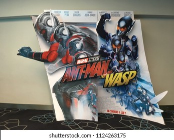 KUANTAN, MALAYSIA- July 1, 2018: Marvel Antman and the wasp movie 3d Poster promotion at MBO cinema