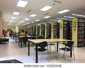 KUANTAN, MALAYSIA- July 13, 2018: Group of student reading and studying in the IIUM Library