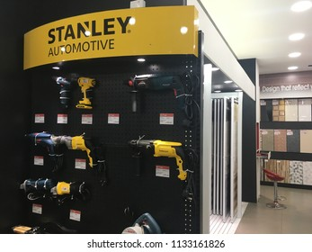 KUANTAN, MALAYSIA- July 13, 2018: Various model of Stanley tools in store. Stanley has built a legacy by producing some of the most well known hand tools and storage products in the world.