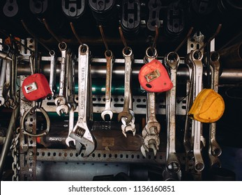 KUANTAN, MALAYSIA- JULY 17, 2018: Various size of spanner and type with multi brand