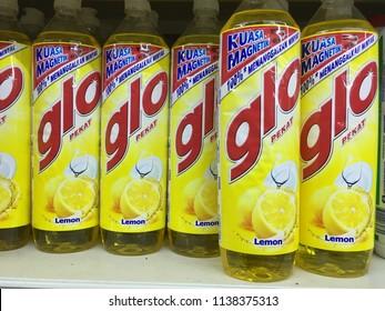 Kuantan, Malaysia - July 20, 2018: Assorted GLO dishwash liquid bottles on the supermarket
