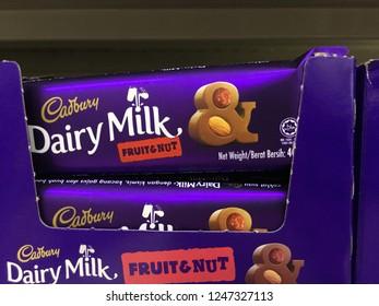 KUANTAN, MALAYSIA - NOVEMBER 26, 2018: Cadburry dairy milk on the shelf.