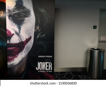 Kuantan, Malaysia - Oct 12, 2019: A beautiful poster of a movie called Joker display at the cinema to promote the movie.