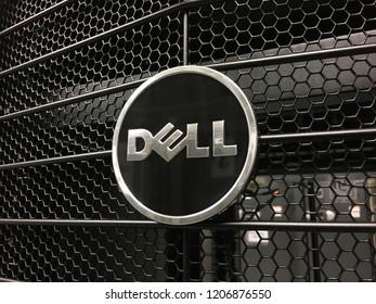 KUANTAN, MALAYSIA- OCTOBER 12, 2018: DELL logo switch cover in data centre