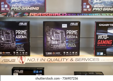Kuantan, Malaysia - October 18th, 2017 : Computer motherboards and other electronic parts on sale at  Asus Store,  Kuantan Shopping Mall.