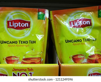 Kuantan, Malaysia - October, 2018: Lipton tea products sood at supermarket.