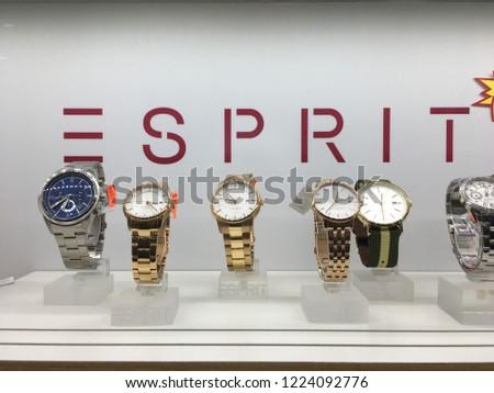 47e92216fe3e Kuantan, Malaysia - October 28, 2018  Esprit watch display in the glass  shelf
