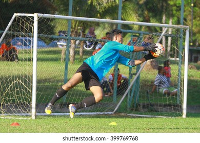 Kuantan, Pahang - February 02, 2016: Second goalkeeper Mohd Saufi of Pahang FC in action during training session at Taman Gelora field, Kuantan