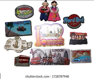 KUANTAN, PAHANG / MALAYSIA - MAY 11 2020 : Fridge door magnet travel collection in kuantan , pahang.