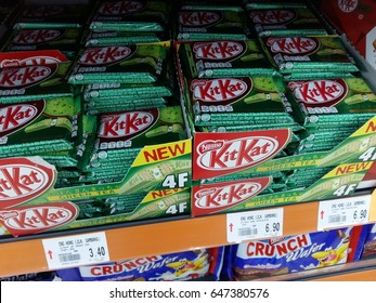 Kuantan Pahang Malaysia, May 20 2017 : Kit Kat is a chocolate covered wafer bar created in 1911 by Rowntree's of York, England. Nestle which acquired Rowntree in 1988 now sells Kit Kat globally.