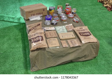 KUBINKA, MOSCOW OBLAST, RUSSIA - AUG 22, 2018: International military-technical forum ARMY-2018. The Syrian exhibition. American food rations and Israeli canned food, captured from terrorists in Syria